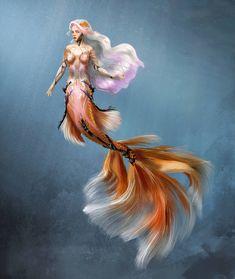 Koi Mermaid by lilnevie on DeviantArt - Darya – Cyber Sirens project by Skyrawathi Mermaid Man, Siren Mermaid, Mermaid Fairy, Mermaid Artwork, Mermaid Drawings, Mermaid Tattoos, Mermaid Paintings, Fantasy Mermaids, Mermaids And Mermen