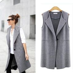 Casual sleeveless blazer vest woman ladies femme female summer black gray plus size oversized big quilted long suit vests jacket – Daily Posts for Women Casual Skirt Outfits, Blazer Outfits, Blazer Fashion, Office Outfits, Sleeveless Blazer Outfit, Sleeveless Coat, Sleevless Blazer, Blazers For Women, Jackets For Women
