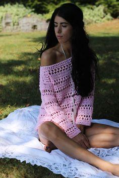 Suéter suéter del ganchillo suéter de las mujeres Boho chic