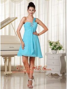 One Shoulder Beaded Decorate Bust Chiffon For Homecoming Dress In Oklahoma- $98.78  http://www.fashionos.com     prom dress online shop | prom dress websites | low price prom dress | fitted prom dress |