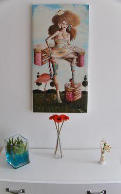 Alice Tea Time - Reproducción de oil on canvas 40x80cm - Así queda puesta en bastidor desnudo.