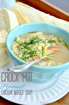 Easy Slow Cooker Chicken Soup - I'm gonna add my bok choi and garlic scapes, ginger and soy sauce Crock Pot Slow Cooker, Crock Pot Cooking, Slow Cooker Chicken, Slow Cooker Recipes, Soup Recipes, Cooking Recipes, Crockpot Recipes, Crock Pots, Crockpot Dishes