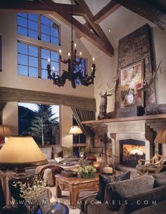 Rustic Lodge Living Room, Moose, Chandelier. Interior Design ...