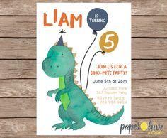 dinosaur birthday party invitations / boy birthday invites / girl birthday invites / printable file or printed invites by paperhive on Etsy https://www.etsy.com/listing/476193229/dinosaur-birthday-party-invitations-boy