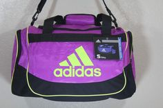 "93efae5385 adidas Defense Small Duffel Pink Yellow Sport Gym Carry on Bag 19""x11""x11""  for sale online"