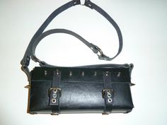 Rock leather bag - thick leather and spikes