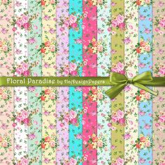 Floral Paradise  Instant Download Digital by HajDesignPapers, $3.80
