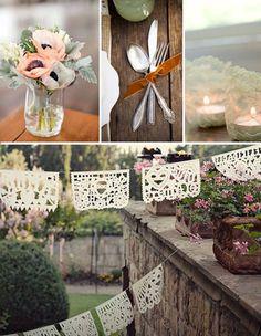 anemone, velvet ribbon, lace doily bunting