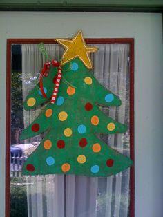Christmas Tree Burlap Door Hanger by ballardbethm on Etsy