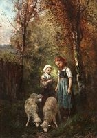 Girls with Sheep in a Woodland pair by James Crawford Thom