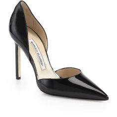 Manolo Blahnik Women's Tayler Patent Leather d'Orsay Pumps ($735) ❤ liked on Polyvore featuring shoes, pumps, apparel & accessories, black, patent leather pointy toe pumps, black patent pumps, black patent leather pumps, patent pumps and black pointy-toe pumps
