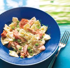Creamy Farfalle with Salmon and Peas from Epicurious.com #myplate #protein #veggie