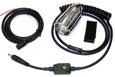 Image of Single Helmet Mounted HID lights with light controller, wires, switch, and mount kit