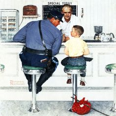 """Runaway"" by Norman Rockwell Painting Print on Canvas"