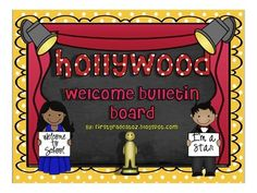 EDITABLE Hollywood Themed Welcome Bulletin Board.  Are you tired of running to teacher stores to buy decor to welcome your little sweeties for the new year only to realized you wish it was editable?I have the perfect solution for you.  Included you will find: -editable hollywood characters holding signs for you to put your students names on 17 in all and they come in black and white to save on printing too. -Title for your board: MEET THE CAST (comes in bunting or 2 different colored cards)