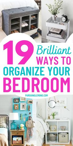 19 Bedroom Organization Ideas That Will Transform Your Bedroom | Organize your bedroom with these bedroom organization tips. You will find great bedroom storage and organization ideas in this list post. These bedroom organization tricks will also be useful for keeping small bedrooms organized! #bedroomorganization #organizingbedroom #bedroomhacks Small Bedroom Organization, Home Organization Hacks, Organizing Your Home, Organising Ideas, Bedroom Storage, Getting Organized At Home, Platform Bed With Storage, Bedroom Hacks, Diy On A Budget