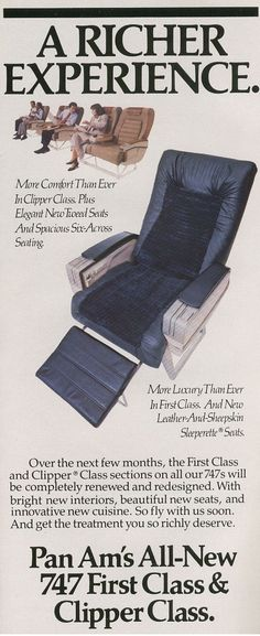 1986 A timetable ad promoting Pan Am's First & Business class seats.
