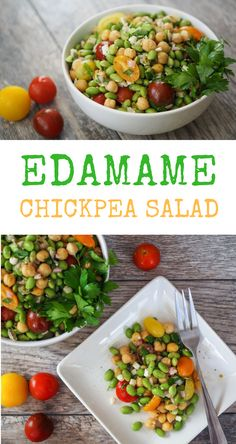 This edamame and chickpea salad with tomatoes, and feta is protein packed and so easy to make. Because it's perfect for summer picnics or an easy weeknight meal, it has become one of our favorites. Chickpea Recipes, Veggie Recipes, Salad Recipes, Diet Recipes, Vegetarian Recipes, Cooking Recipes, Healthy Recipes, Vegetarian Kids, Cooking Tips