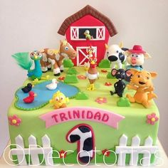 Las más lindas tortas de la granja de Zenón Farm Birthday Cakes, Farm Animal Birthday, Baby Birthday, First Birthday Parties, Birthday Party Themes, First Birthdays, Barn Cake, Farm Party, Decoration
