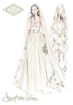 Croquis do Atelier Versace para o vestido de noivas de Angelina Jolie.