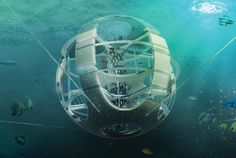 Fish-Tower-2012 skyscraper competition -The Plastic Fish Tower, a circular structure floating on the ocean surface within the GPGP (Great Pacific Garbage Patch), will collect and reprocess plastic debris.