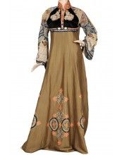 aljalabiya.com: Cotton and velvet patterned jilbab (N-13503-13)$214.00