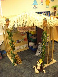 Jungle theme reading hut (kid reading corner or nook) Classroom Setting, Classroom Setup, Classroom Design, Classroom Displays, Kindergarten Classroom, Future Classroom, Classroom Organization, Kindergarten Reading, Reading Hut