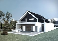 Modern home design Modern Family House, Modern Barn House, Modern Mansion, Modern House Design, Model House Plan, House Plans, Conch House, Flat Roof House, Modern Townhouse