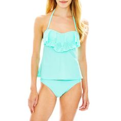Arizona Laser-Cut Bandeaukini Swim Top or Solid Hipster Bottoms - Juniors  found at @JCPenney