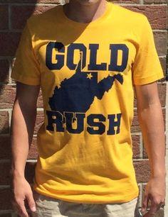 West Virginia Mountaineers Gold Rush Shirt Rush Shirts, Gold Rush, West Virginia, Cotton, Mens Tops, How To Wear, Fashion, Moda, Fasion
