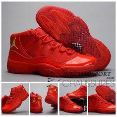 Nike Air Jordan 11   Classique Chaussure De Basket Homme Cuir Rouge