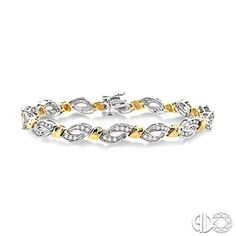 This scintillating two tone diamond tennis bracelet personifies your sweetheart's grace and elegance. Radiant brilliantly, each sterling yellow gold round bar is joined by galaxy of magnificent round cut accented diamonds finely set in infinity shape. This sparkling bracelet is complemented by 84 channel set diamonds crafted on luminous 10 karat yellow and white gold. Fastens with a secure clasp. Total diamond weight is 1 ctw. #swansondiamondcenter #yellowgold #whitegold #bracelet