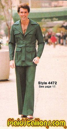 polyester, leisure suit, belted, bell bottoms, shirtless...and the list goes on...70s #fashion #mockery