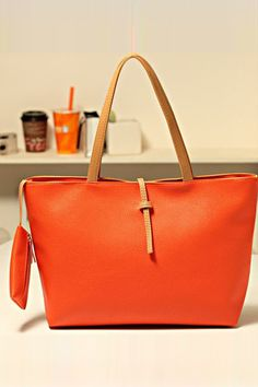 Solid Color PU Leather Modern Totes