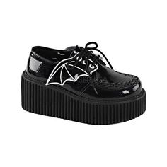 Women's Demonia Creeper 205 Creeper - Black Glitter Vinyl Casual ($69) ❤ liked on Polyvore featuring shoes, lace up shoes, laced shoes, platform shoes, black shoes and creeper shoes