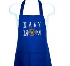 US Navy Mom Apron, US Military Items, Custom Personalize, AGFT 814Ready To Ship TODAY,  BBQ Cooking Chef's Apron is a great gift for Mom. Navy emblem is embroidered on the apron bib. For...@ artfire