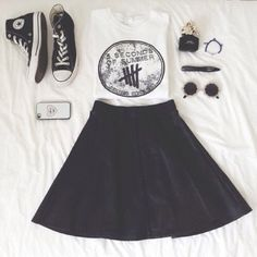 shirt five seconds of summer tank top white skirt circle skirt sunglasses shoes converse converse high tops phone cases skater skirt t-shirt 5sos outfits 5 seconds of summer white t-shirt black leather skirt muscle tee dress cute band t-shirt bands music one direction black hipster goth hipster pastel indie floral pretty vans crop tops tank tops croptops jewelry black skater skirt sweater 5sos calum michael luke ashton 1d sweatshirt tumblr shirt 5sos hoodie black skater dress rayban black…