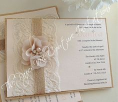 Items similar to Danica - Vintage Lace, Burlap & Kraft - Rustic Garden Blush Pink Bridal Shower, Baby Shower or Wedding Invitation - Burlap and Lace on Etsy Burlap Wedding Invitations, Vintage Wedding Invitations, Wedding Invitation Design, Wedding Stationery, Wedding Vintage, Garden Bridal Showers, Motif Floral, Wedding Cards, Vintage Lace