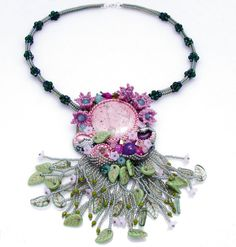 OOAK Boho Flower Necklace, Bead Embroidery Necklace, Romantic Necklace Use PINTEREST coupon at check-out to get 10% OFF!