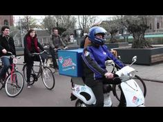 """Check out this Domino's Scooter in the Netherlands.    The company is experimenting an electric scooter that speaks certain phrases of what sounds like a man saying """"Domino's!"""" and """"pizza!"""" in between revving noises. Is this an alternative to raise awareness for soundless electric vehicles which provide no aural warning to pedestrians or"""