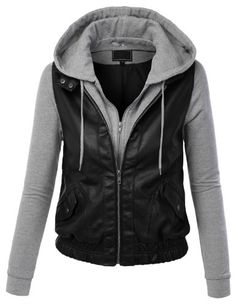 BUY NOW Sizes may run small; please choose a size up. Feel like a rockstar in this faux leather biker zip up sweater hoodie paired with distressed denim. It can be worn causally throughout the day or dressed up with heels for a girls night out. BUY NOW $45.99 BUY NOW