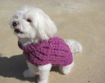 Small Dog Mock Cable Knit Purple Plumberry Sweater, Small Dog Apparel,  Mock Cable Knit Dog Sweater, Handmade Purple toneDog Sweater