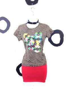 90s Op Art CD Print T shirt / 3D / Cyber / by badatpettingcats, $36.00