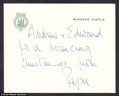 One, from the Duke of Edinburgh to his sons, Princes Andrew and Edward, read: 'Andrew + Edward for a bouncing Christmas from Papa', and another to Princess Anne is signed 'love from Papa'