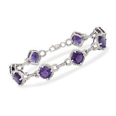 Cushion-cut 15.00 ct. t.w. purple amethysts glow brightly in .33 ct. t.w. diamond links. >>Click on the Amethyst Bracelet to browse similar styles at Ross-Simons.