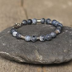 Navy Blue Agates Mens Bracelet Oxidized Silver for Man Guys