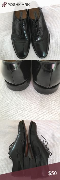 Johnston and Murphy Shoes Black leather dress lace up. A scuff mark on left shoe. These have been worn but if you know the brand. It's s a superior shoe with lots of wear to go. Johnston & Murphy Other
