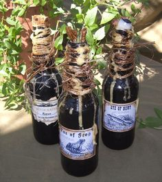 WITCH POTION BOTTLES Wicca Magic Spell Halloween Prop Decoration
