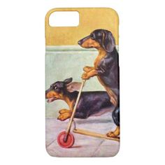 Dachshund on scooter vintage iPhone case dachshund clothes, beagle dachshund mix, dachshund life struggle Vintage Dachshund, Dachshund Funny, Dachshund Rescue, Dachshund Gifts, Dachshund Mix, Daschund, Dachshund Halloween Costumes, Dachshund Puppies For Sale, Dachshund Clothes