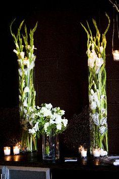 gladiolas in tall vase